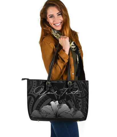 Personalised - Hawaii Royal Hibiscus Polynesian Tribal Large Leather Tote Bag Gray AH J1 - Alohawaii