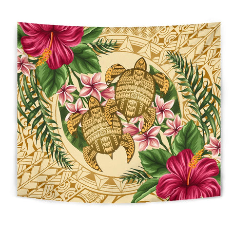 Alohawaii Tapestry - Turtle Strong Pattern Hibiscus Plumeria