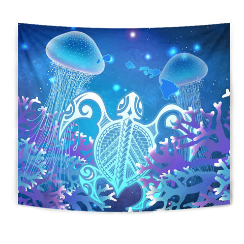 Hawaii Turtle Jellyfish Coral Galaxy Tapestry
