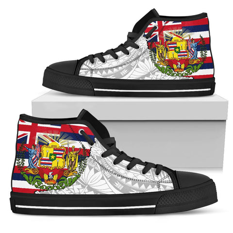 Hawaii High Top Shoes State Flag Polynesian White Pride
