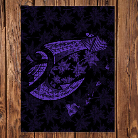 Hawaiian Map Palm Trees Fish Hook Polynesian Jigsaw Puzzle - AH - Purple - J5 - Alohawaii