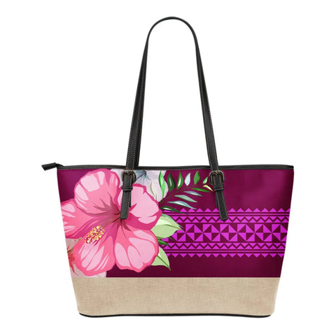 Hawaii Hibiscus Pink Small Leather Tote - AH J2 - Alohawaii
