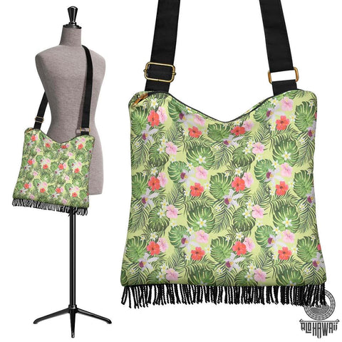 Hawaii Tropical Hibiscus, Plumeria Green Crossbody Boho Handbag - AH - J71 - Alohawaii