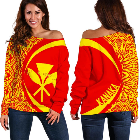 Kanaka Mauna Kea Polynesian Women's Off Shoulder Sweater