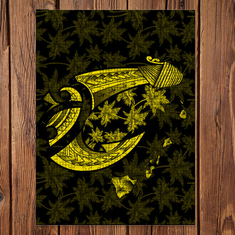 Hawaiian Map Palm Trees Fish Hook Polynesian Jigsaw Puzzle - AH - Yellow - J5 - Alohawaii
