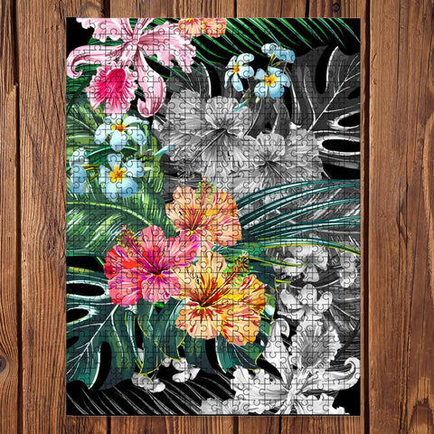 Hawaii Tropical Plumeria Hibiscus Jigsaw Puzzle - AH - J5 - Alohawaii