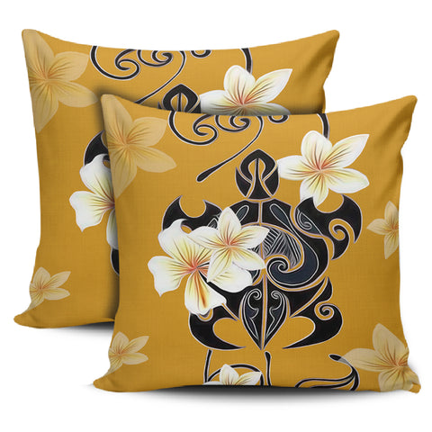 Image of Turtle Poly Tribal Plumeria Yellow Pillow Covers - AH - J1 - Alohawaii