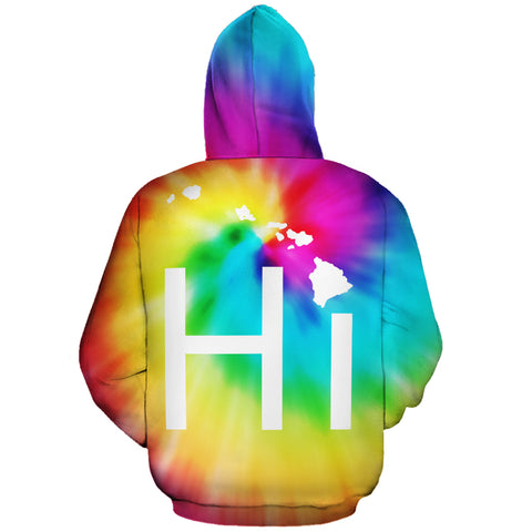 Hawaiian Map Hoodie (Zipper) Tie Dye - AH - J1
