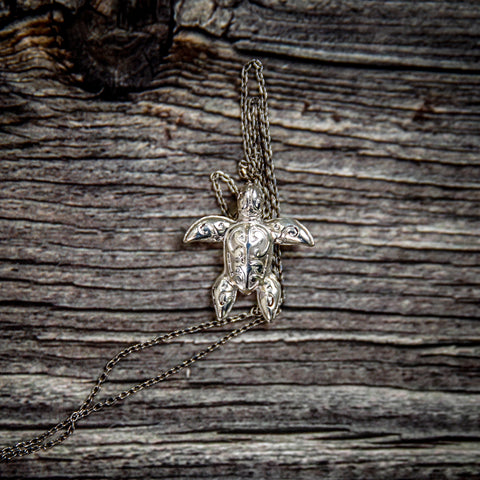 Image of Hawaii Turtle Necklace Pendant - Handmade Sterling Silver Jewelry - AH - J1 - Alohawaii