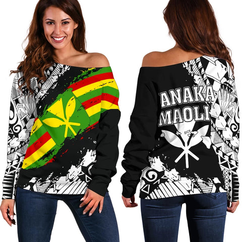 Polynesian Kanaka Flag Women's Off Shoulder Sweater