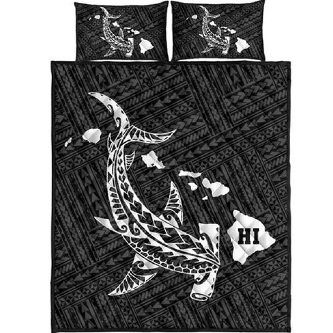Image of Shark Polynesia Quilt Bed Set - AH J4