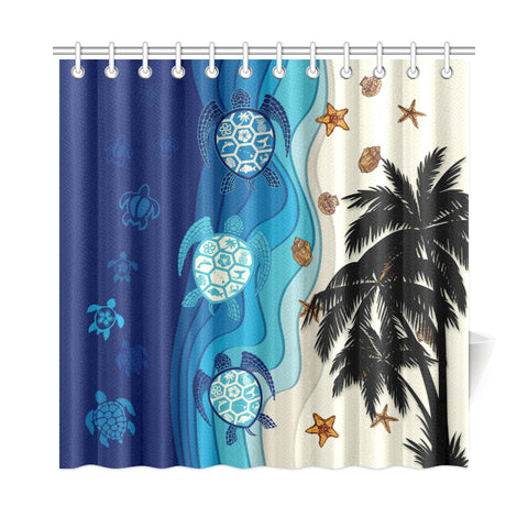 Hawaiian Sea Turtle Symbol Palm Shower Curtain - AH J9 - Alohawaii