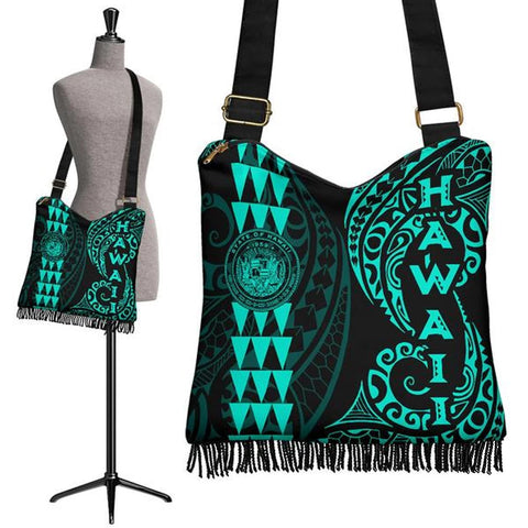 Hawaii Coat Of Arms Crossbody Boho Handbag Turquoise - AH J4