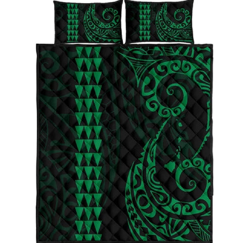 Image of Hawaii Polynesian Quilt Bed Set Green - AH J4 - Alohawaii