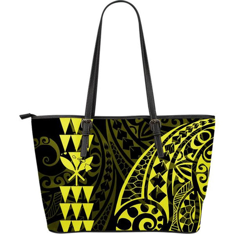 Kanaka Hawaii Map Yellow Tribal Large Leather Tote Bag - AH J4 - Alohawaii