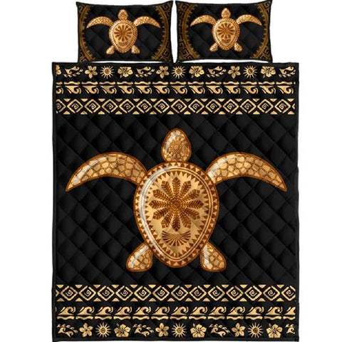 Golden Turtle Quilt Bed Set - AH - J4