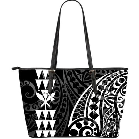 Kanaka Hawaii Map White Tribal Large Leather Tote Bag - AH J4 - Alohawaii