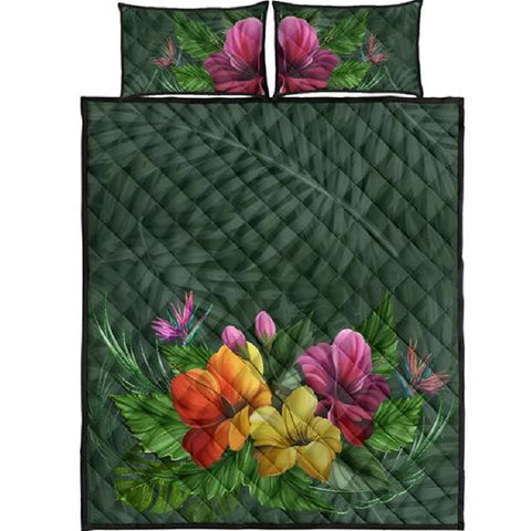 Colorful Hibiscus Quilt Bed Set - AH - J4