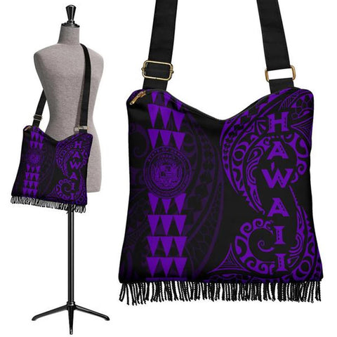 Hawaii Coat Of Arms Crossbody Boho Handbag Purple - AH J4