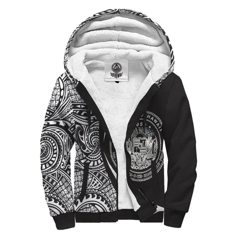 Image of Hawaii Coat of Arms White Polynesian Sherpa Hoodie - Circle Style AH J4 - Alohawaii