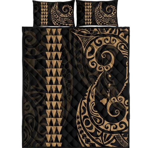Alohawaii Quilt Bed Set - Hawaii Polynesian Quilt Bed Set Gold - AH J4 - Alohawaii