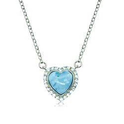 Hawaiian Heart Shape Larimar CZ Halo Necklace - AH - J7 - Alohawaii