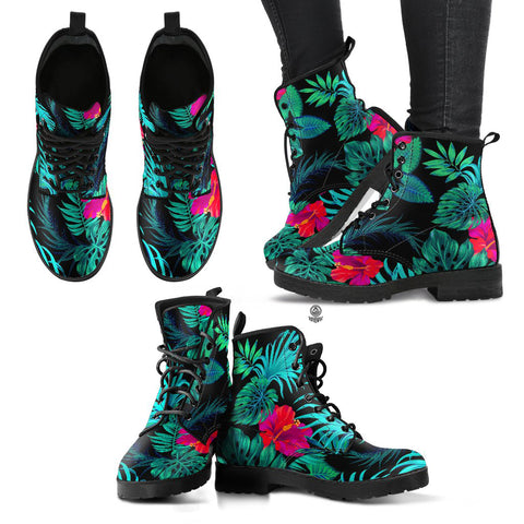 Image of Hawaii Green Hibiscus Leather Boots - AH J2 - Alohawaii