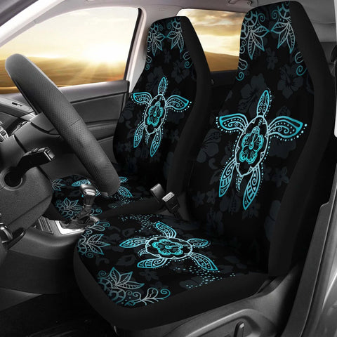 Hawaii Blue Turtle And Hibiscus Car Seat Covers - AH - Alohawaii