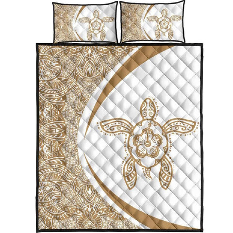 Image of Hawaii Polynesian Turtle Quilt Bed Set-Circle Style Gold And White - AH - J7