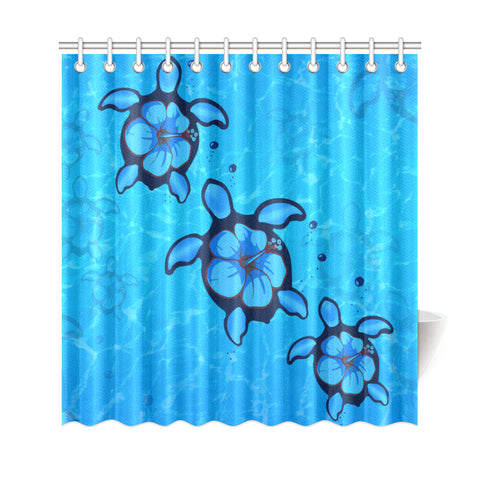 Turtle Hibiscus Swim In Sea Shower Curtain - AH J9 - Alohawaii