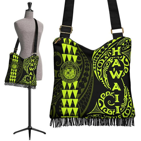 Hawaii Coat Of Arms Crossbody Boho Handbag Neon - AH J4