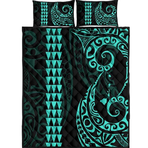 Hawaii Polynesian Quilt Bed Set Turquoise - AH J4