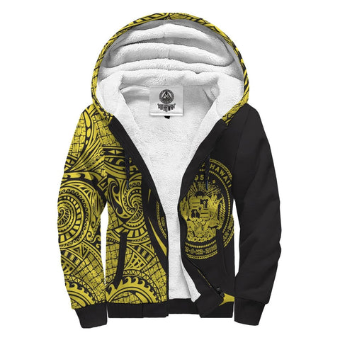 Image of Hawaii Coat of Arms Yellow Polynesian Sherpa Hoodie - Circle Style AH J4 - Alohawaii