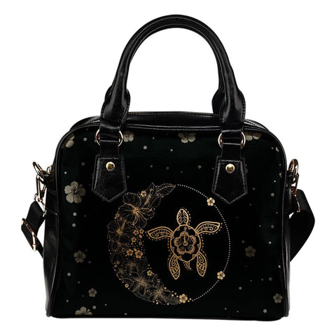 Hawaii Turtle Hibiscus Black And Gold Shoulder Handbag - AH J2 - Alohawaii