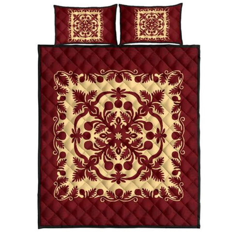 Hawaiian Quilt Royal Quilt Bed Set - AH J9