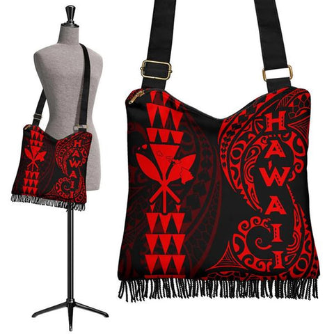 Hawaii Polynesian Crossbody Boho Handbag Red - AH J4