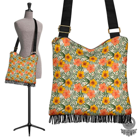 Image of Hawaii Tropical Flowers Hibiscus Pink Yellow Crossbody Boho Handbag - AH - J71 - Alohawaii