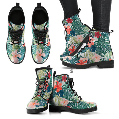 Image of Hawaii Hibiscus Palm Leather Boots - AH J2 - Alohawaii