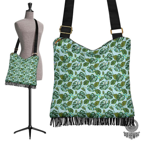 Hawaii Tropical Flowers Monstera Leaf Crossbody Boho Handbag - AH - J71 - Alohawaii