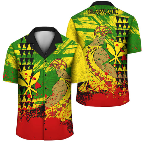 Image of Hawaii Reggae Kanaka Maoli Warrior Spearhead Hawaiian Shirt