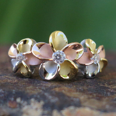 Hawaii Silver Tri-color Gold Plumeria Flower CZ Wedding Ring - AH - J7 - Alohawaii