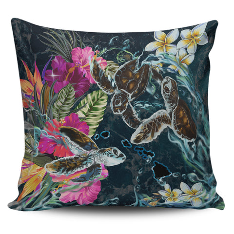 Image of Hawaii Map Turtle Swimming Hibiscus Plumeria Moana Pillow Covers