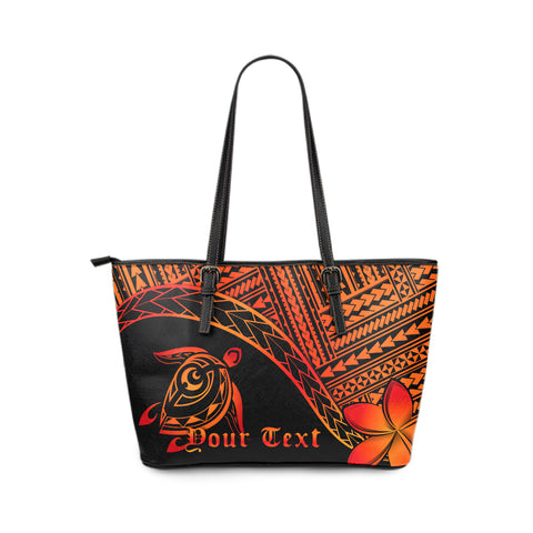Personalized - Hawaiian Turtle Plumeria Leather Tote Bag Small AH J0 - Alohawaii