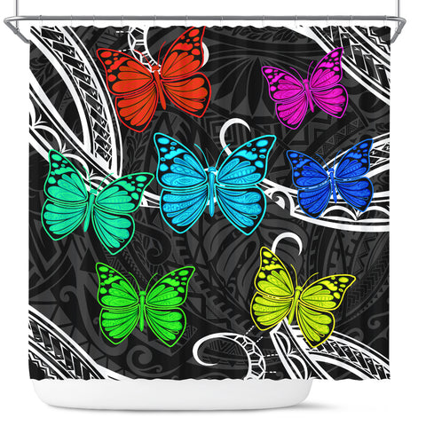 Hawaii Polynesian Butterflies Shower Curtain - AH - J5 - Alohawaii