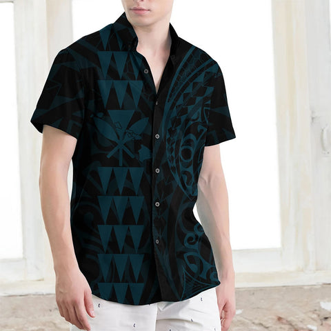 Image of Kanaka Map Men's Short Sleeve Shirt Blue Coral - AH J4 - Alohawaii