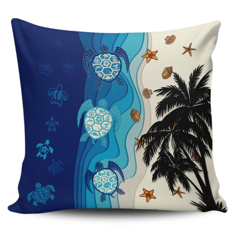 Image of Hawaiian Sea Turtle Symbol Palm Pillow Covers