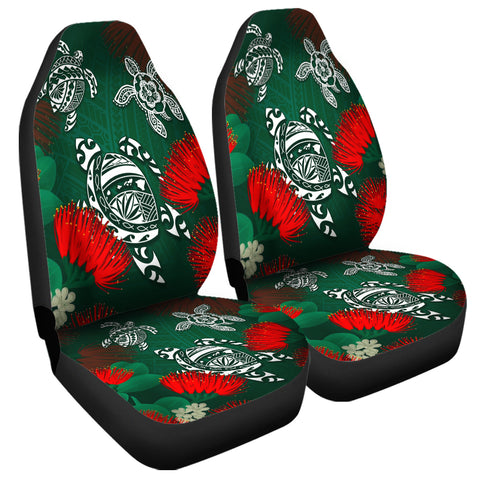 Image of Hawaii Lehua Flowers Turtle Poly Car Seat Covers