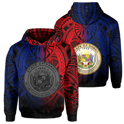 Hawaii Maka Polynesian Coat Of Arms Hoodie - Heaven Style - AH - Red Blue - J5