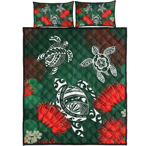 Hawaii Lehua Flowers Turtle Poly Quilt Bed Set