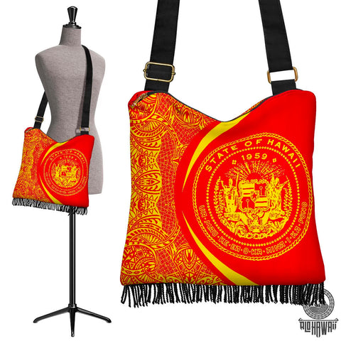 Image of Hawaii Crossbody Boho Handbag Coat Of Arms Polynesian - Circle Style Red And Yellow - AH - J71 - Alohawaii